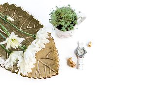 Green, Gold + White Deskscape
