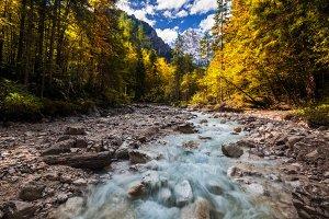 Walk through autumn canyon