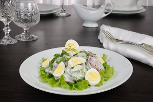 Radish salad with cucumber and eggs