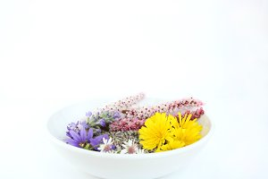 Colorful wildflowers in white bowl
