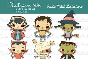 Halloween kids-clipart illustrations