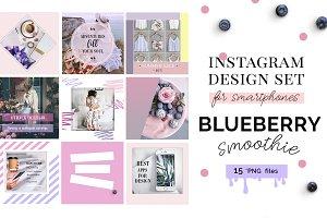 "Instagram templates set ""Blueberry"""