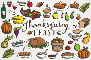 Thanksgiving Feast Illustration Pack
