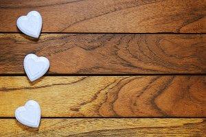 Three white hearts misaligned