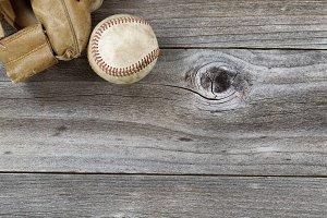 Old Baseball Mitt and ball