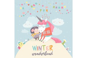 Cute girl hugging unicorn. Winter wonderland