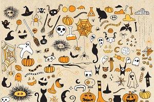 Halloween Doodle Clipart PNG Vector