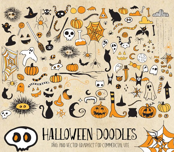 Halloween Doodle Clipart PNG Vector ~ Illustrations ~ Creative Market