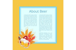 About Beer Poster with Text on Light Blue Square