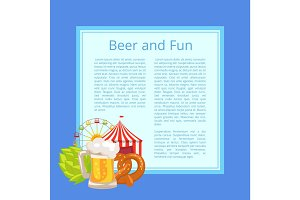 Beer and Fun Poster with Text on Light Blue Square
