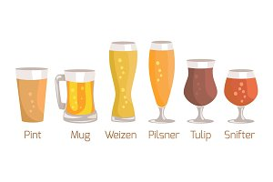 Pint and Mug, Weizen Vector Illustration on White