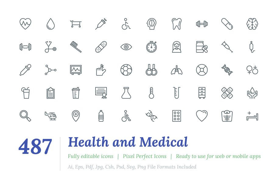 487 Health and Medical Line Icons
