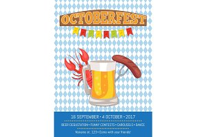 Octoberfest Poster Depicting Beer Mug and Food