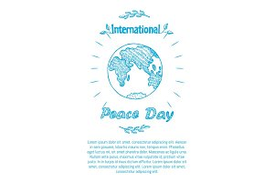 Peace Day International Holiday Poster with Earth