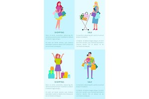 Shopping and Sale Pictures Vector Illustration