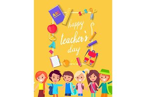 Happy Teacher's Day Colorful Bright Poster