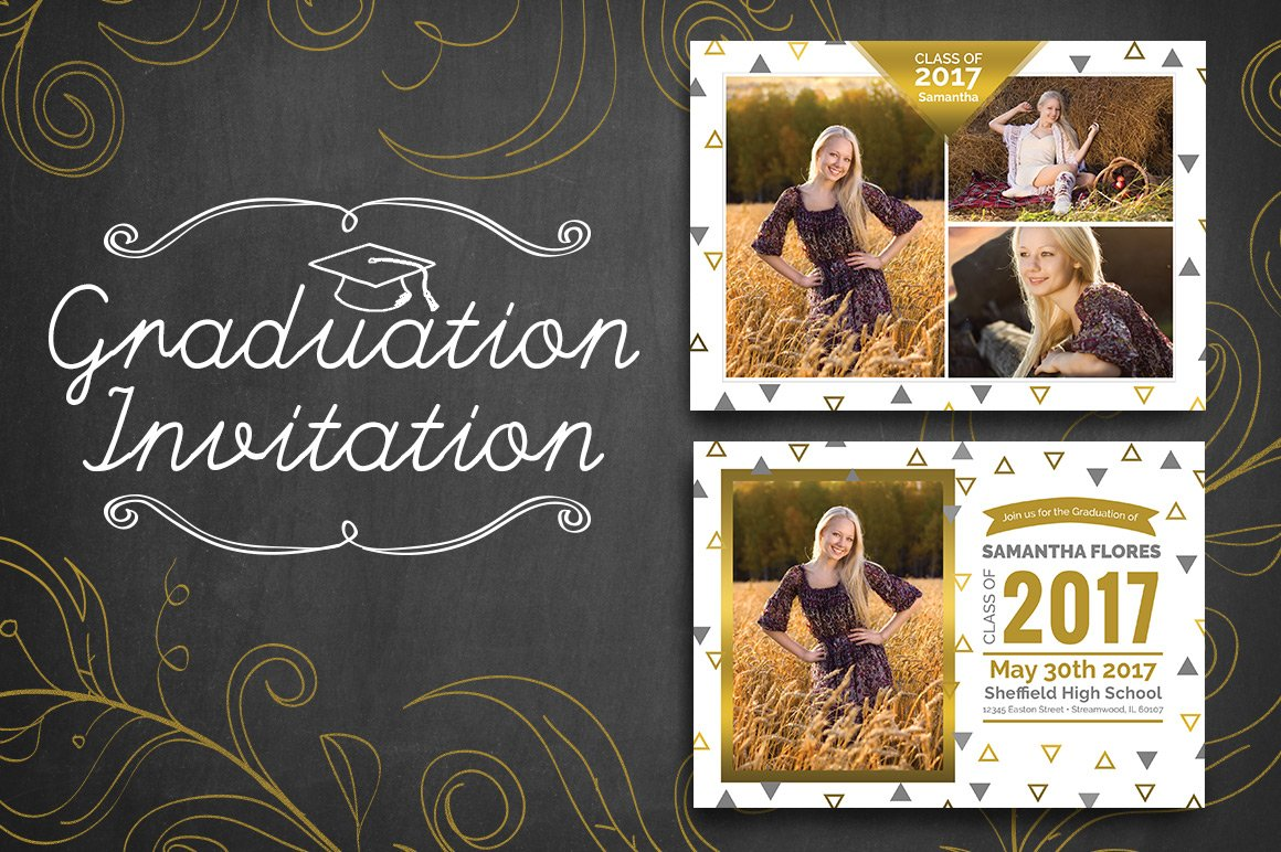 Graduation Invitation - Triangle ~ Invitation Templates ~ Creative ...