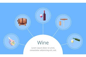 Wine and Sample Text with Icon Vector Illustration