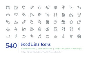 540 Food Line Icons