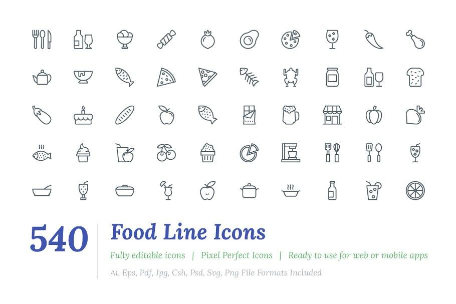 540 Food Line Icons