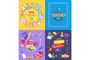 Teachers Day Promo Poster Vector Illustration
