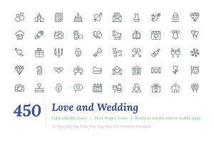 450 Love and Wedding Line Icons