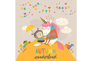 Cute girl hugging unicorn. Autumn wonderland