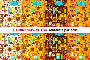 Thanksgiving Flat Seamless Patterns