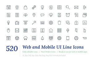 520 Web and Mobile UI Line Icons