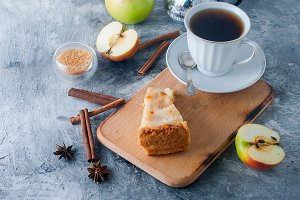 Apple pie with cup tea