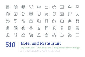 510 Hotel and Restaurant Line Icons