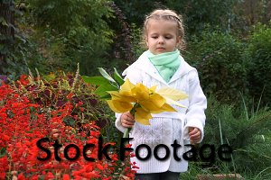 Cute little girl in autumn park.
