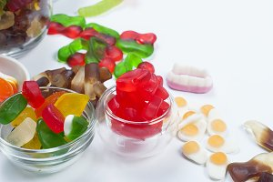Tasty mixed colorful sweets jelly