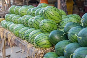 sweet green watermelons in market