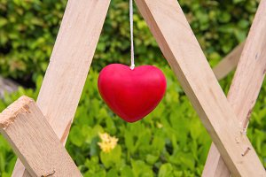 Red heart decoration hanging