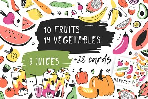Fruits, vegetables, juices, patterns