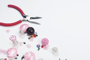 Colorful beads and tools