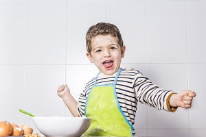Child spotted with flour at kitchen