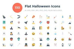 130 Flat Halloween Icons