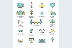Sustainable Development Vector Icons