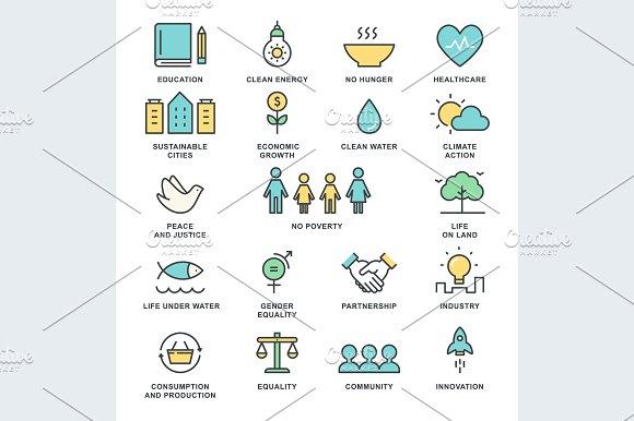 Sustainable Development Vector Icons