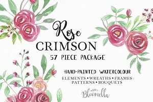 Rose Watercolour clip Art Package