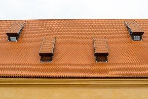 Tile roof of old castle