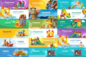 Set of horizontal banners with playgrounds