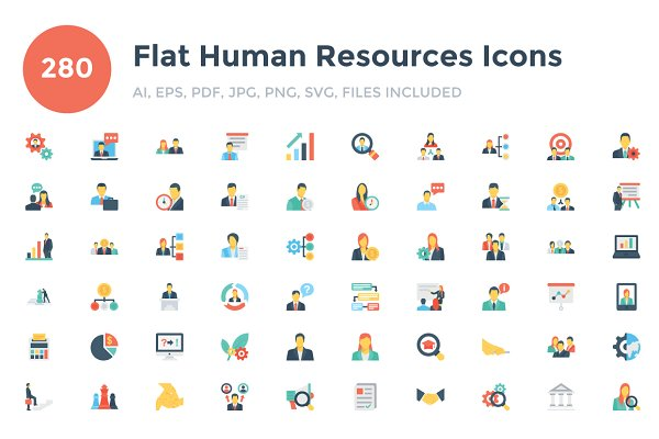 280 Flat Human Resouces Icons