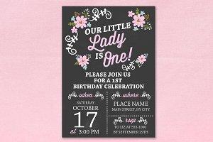 1st Birthday chalkboard invitation