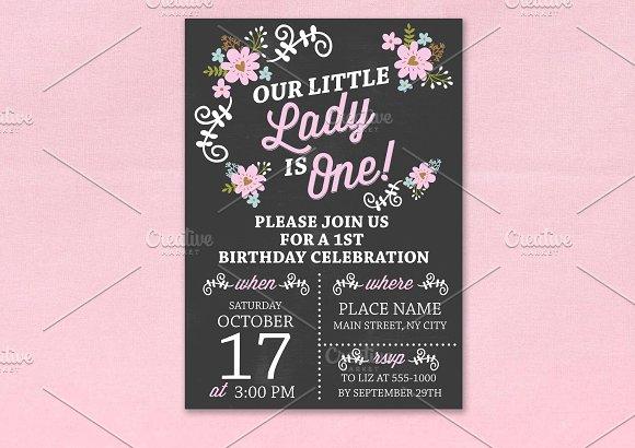1st birthday chalkboard invitation templates creative market