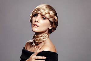 Sensual woman with creative braid