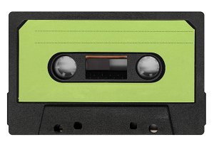 magnetic tape cassette with green label
