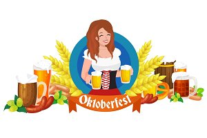 germany beer festival oktoberfest, bavarian  in glass mug, traditional party celebration, vector illustration